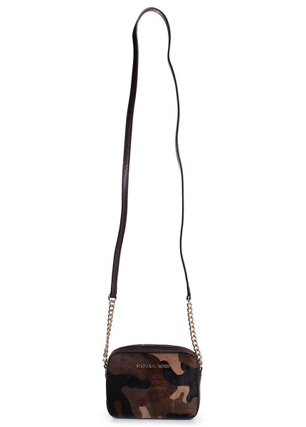 Michael Kors Camo Haircalf Jet Set Crossbody in Duffle