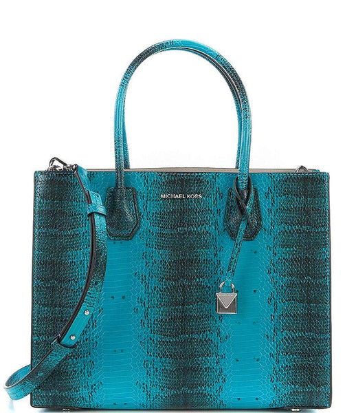 Michael Kors Studio Mercer Snake Medium Large Convertible Tote Tile Blue Leather Bag