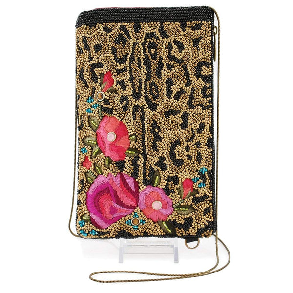 MARY FRANCES Beaded Cross-Body Double Pocket Cell Phone/Glasses Pouches (Flowers Gone Wild)