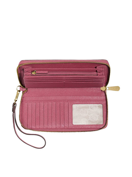 Michael Michael Kors Womens Jet Set Travel Continental Wallet Tulip