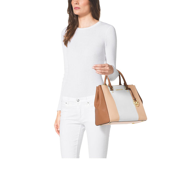MICHAEL KORS Sutton Large Color-Block Saffiano Leather Satchel NUDE/WHITE/PEANUT