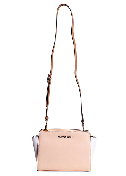 MICHAEL KORS Selma Medium Color-Block Saffiano Leather Messenger NUDE/WHITE/PEANUT