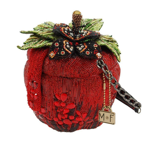 MARY FRANCES Apple of My Eye Beaded Apple Novelty Top Handle Bag