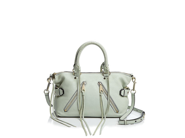 Rebecca Minkoff Moto Leather Satchel Blue Pale Sage Hr25imos26