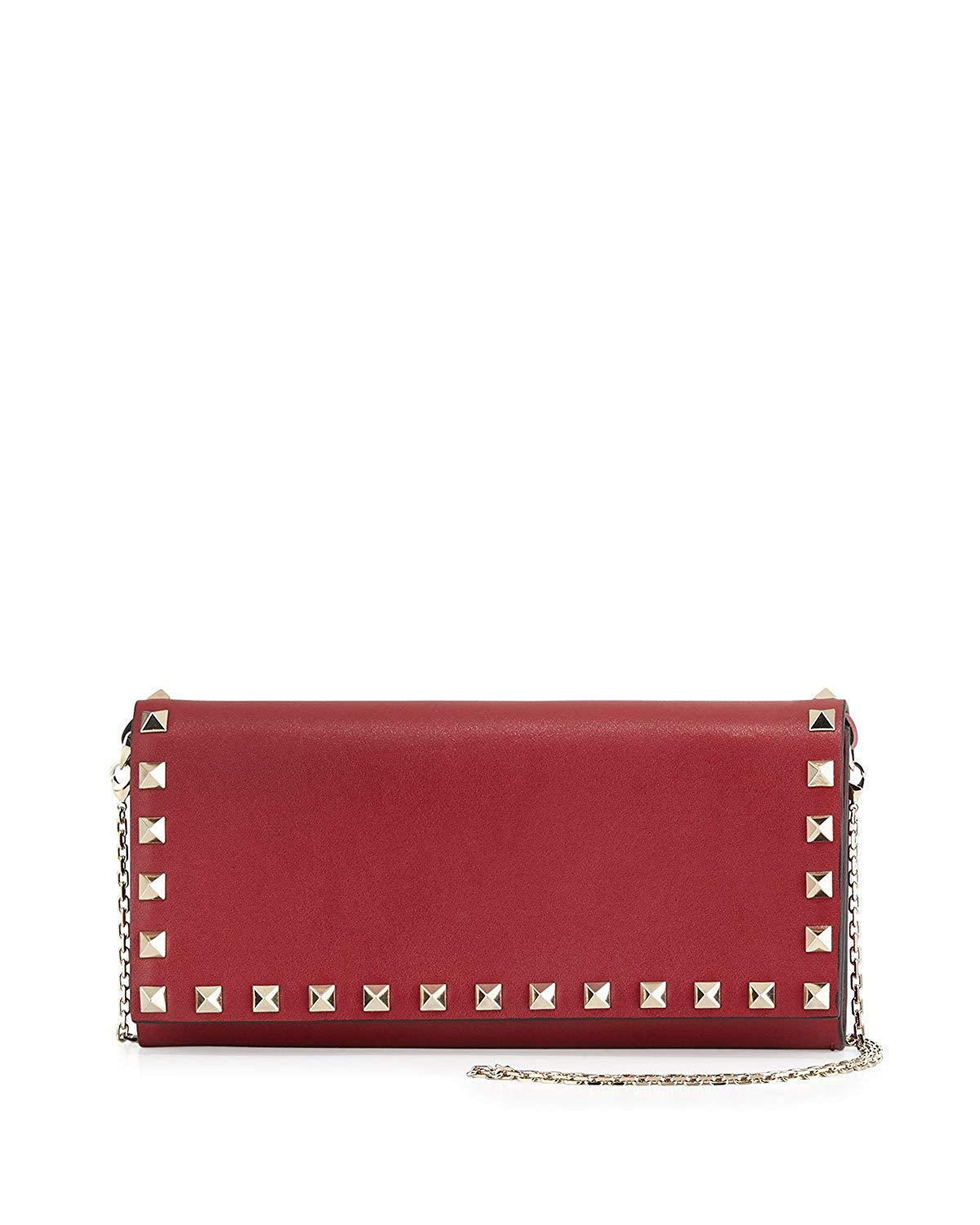 Valentino Rockstud Wallet on a Chain Leather Bag Red Authentic