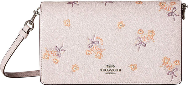 COACH Womens Fold-Over Crossbody in Floral Printed Leather