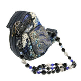 Mary Frances Song Bird Blue Black White Novelty Beaded Jeweled Handbag Shoulder Bag