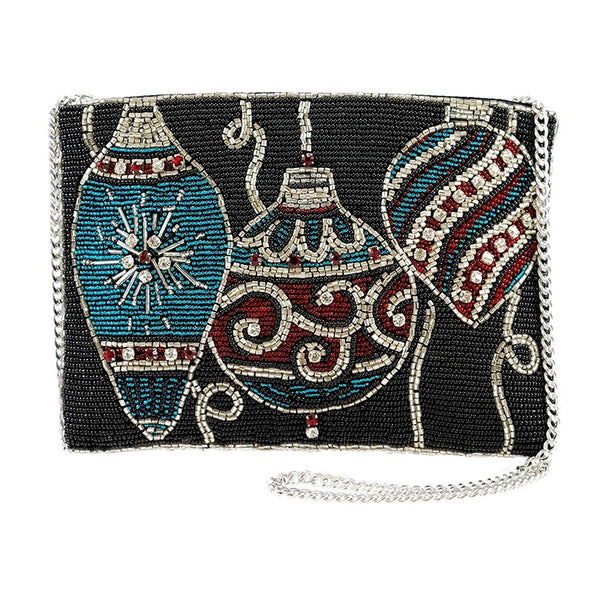 MARY FRANCES Ornament Collection Beaded Holiday Theme Zip-Top Cross-Body Wristlet Handbag