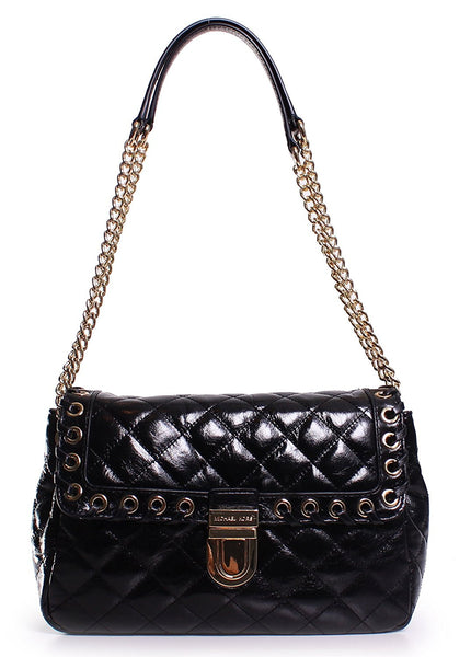 Michael Kors Hippie Grommet Sloan Large Quilted Shoulder Bag in Black