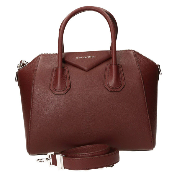 Givenchy Small Antigona Womens Goatskin Leather Burgundy Red Top Handle Bags New