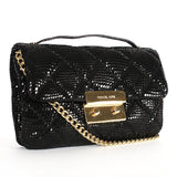 Michael Kors Black Crossbody Sloan Small Patent Embossed Quilted Messenger