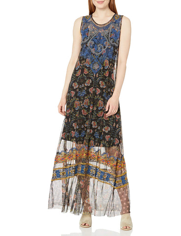 Biya Johnny Was Women's Sleeveless Patterned and Embroidered Mesh Maxi Dress