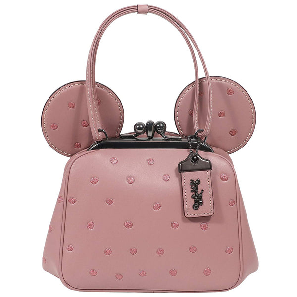 Coach Mickey Bag Crossbody Saddle Leather Mickey Ears Kiss Lock Dusty Rose Pink Bag New