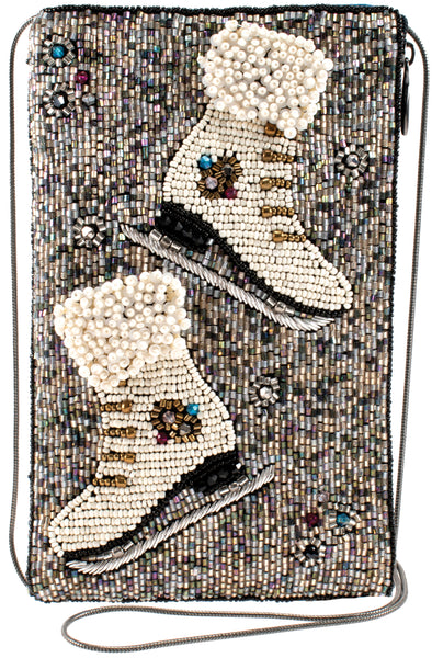 Mary Frances Cheap Skate, Beaded Crossbody Phone Bag New