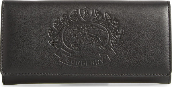 Burberry Crest Embossed Leather Clutch Black Wallet Bag New only 1