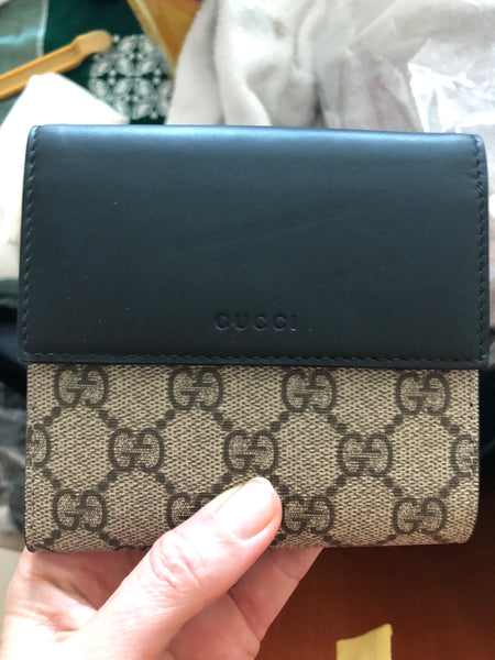 Gucci GG Wallet Supreme Beige Moon Wallet Black Large French Box New Italy