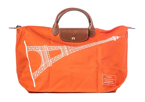 LONGCHAMP Le Pliage France Tour Eiffel Paris Beige XLarge Orange Bag Handbag NEW