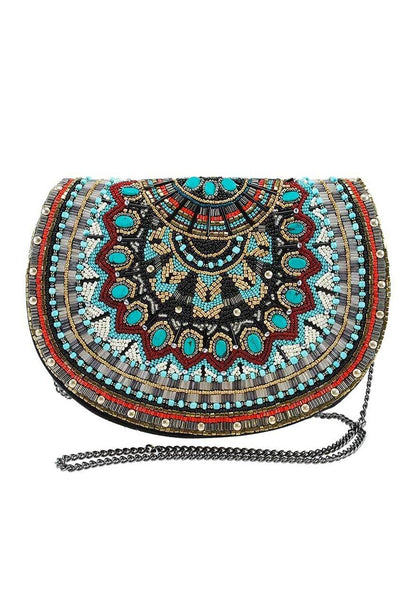 Mary Frances Girl Tribe Beaded Western Pattern Crossbody Saddle Handbag Bag Blue New