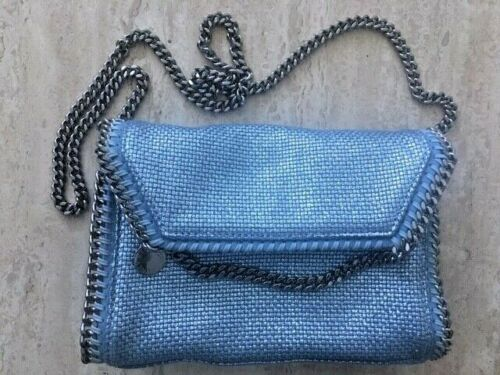 Stella Mccartney Falabella Gunmetal Vegan Silver Handbag Bag Light Blue Eco NEW