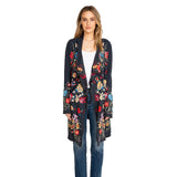 Johnny Was Shixuo Wrap Dark Blue Embroidered Flower Embroidery Jacket New