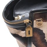 Salvatore Ferragamo 'Verve' Tote Animal Fur Leather Tote Gold Hardware New