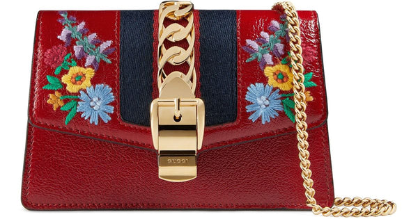 Gucci Red Super Mini Sylvie Embroidered Chain Wallet Bag new