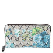 Gucci Blooms Wallet Travel Large Black Zip around Bloom Continental Blue Flower New