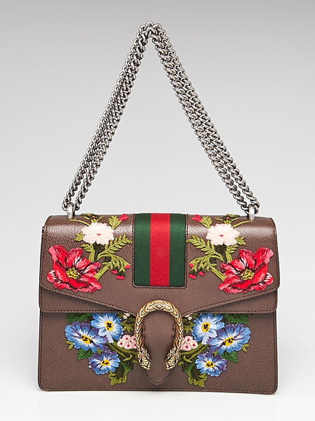 Gucci Dionysus Medium Chain Bag Brown Leather Red Flower Italy Handbag New