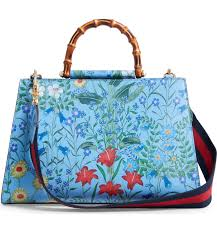 Gucci Flora Nymphae Azure Shanghai Blue Medium Floral Handbag Italy Bag Handbag Flower Bamboo New