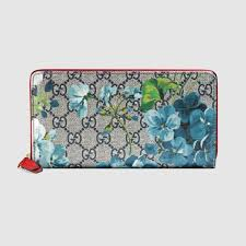 GUCCI GG Supreme Monogram Blooms Zip Around Wallet Blue navy flowers w RED trim