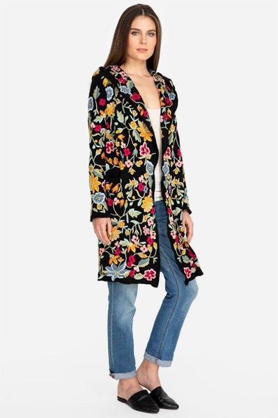 Johnny Was SACAI HOODED DUSTER BLACK Jacket Flower Embroidery Floral NEW