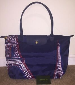 LONGCHAMP Le Pliage Navy Blue Red White Paris Parisian Tour Eiffel Travel Limited Bag NEW
