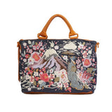 Johnny Was Handbag Hisako Overnight Tote Embroidery Denim Leather Bag New