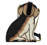 MARY FRANCES Regal Beagle Beaded Puppy Dog Crossbody Handbag Bag Doggie Pup Black New