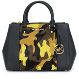 Michael Kors Sutton Haircalf Satchel in Camo / Acid Lemon
