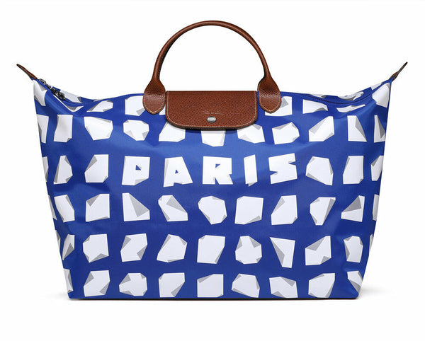 Longchamp Vahram Muratyan Paris Blue White Origami Paper Travel Large Bag New