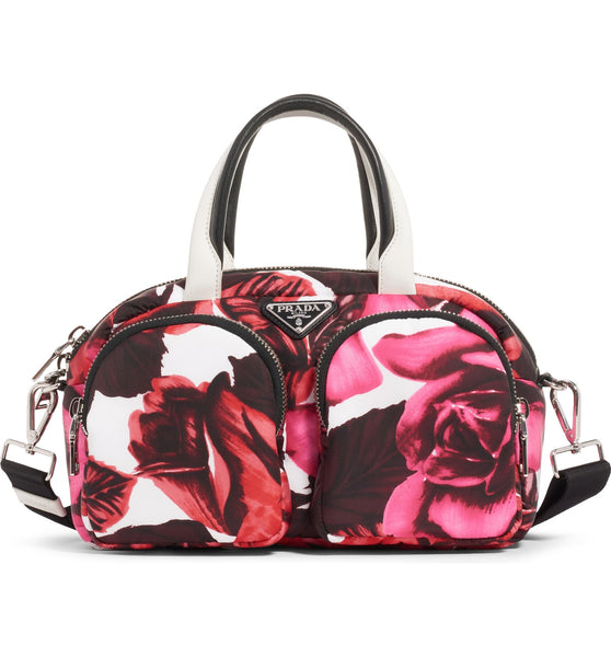 Prada Rose Print Nylon Tote Red PInk White Handbag Bag NEW