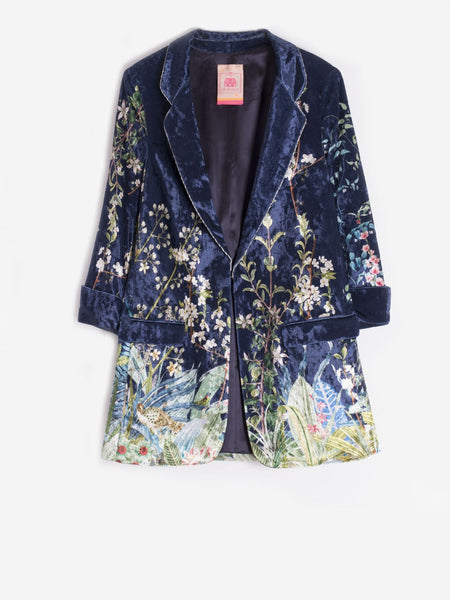 Vilgallo Inari Clover Portugal Jacket Velvet Navy Blue Flower Long Floral New Portugal