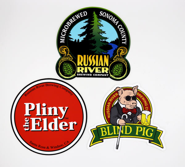 Collect All 3 Large Stickers!  Pliny the Elder, Blind Pig, Russian River