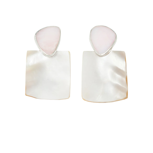 PENDULUM Earring / Mother of Pearl + Pink Opal