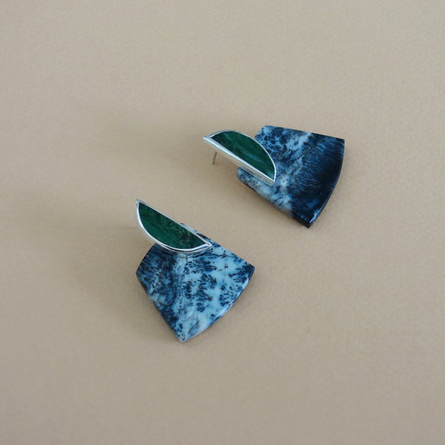 COLLAGE Earrings / Jade + Dendritic Opal