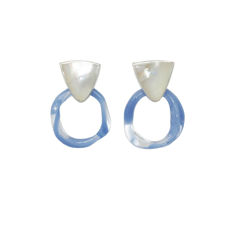 AURA Hoop Earrings / Mother of Pearl + Periwinkle Glass