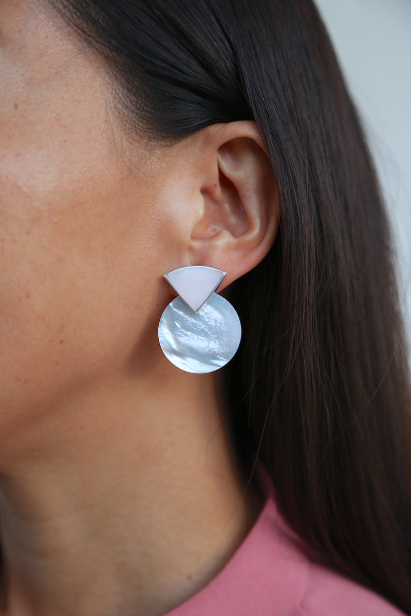 SUNRISE Earrings / Pink Opal + Mother of Pearl
