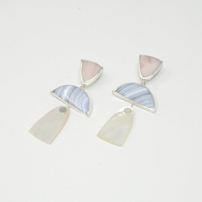 TRIO Drops / Pink Opal, Blue Lace Agate, Mother of Pearl