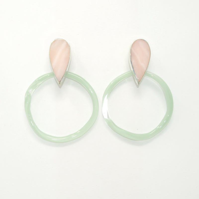 CORONA Hoop Earrings / Pink Opal + Celadon Glass