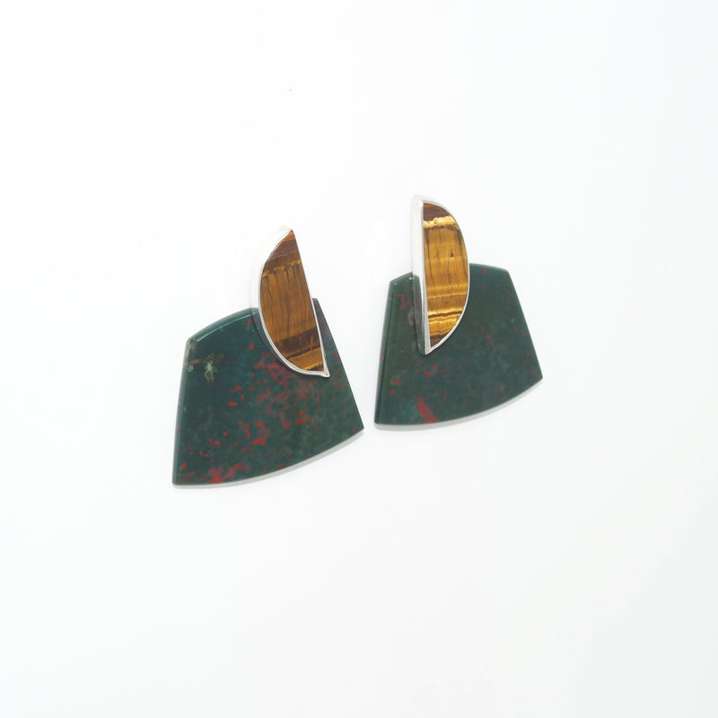 COLLAGE Earrings / Tiger's Eye + Bloodstone