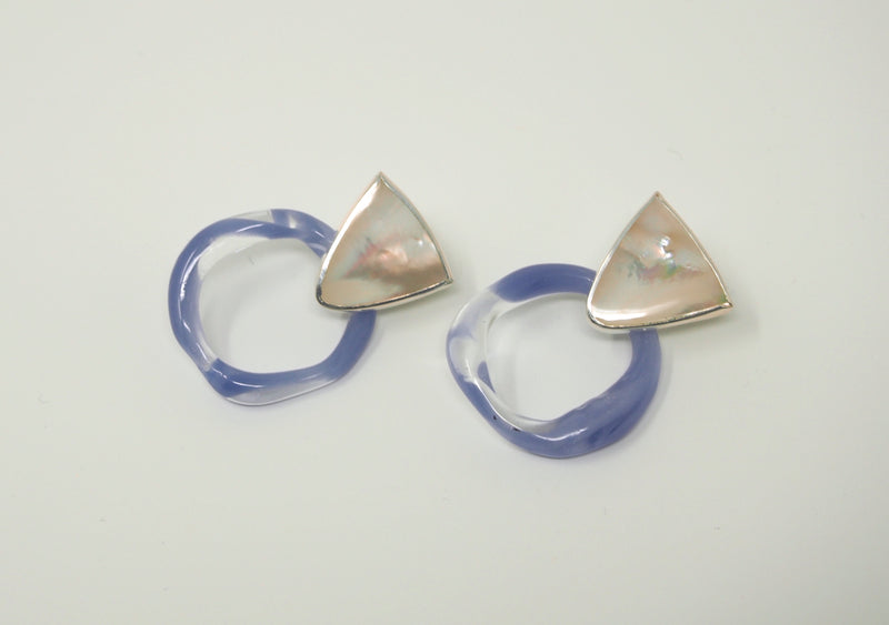CORONA Hoop Earrings / Mother of Pearl + Periwinkle Glass