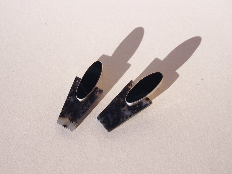 COLLAGE Earrings / Black Jade + Marfa Plume Agate