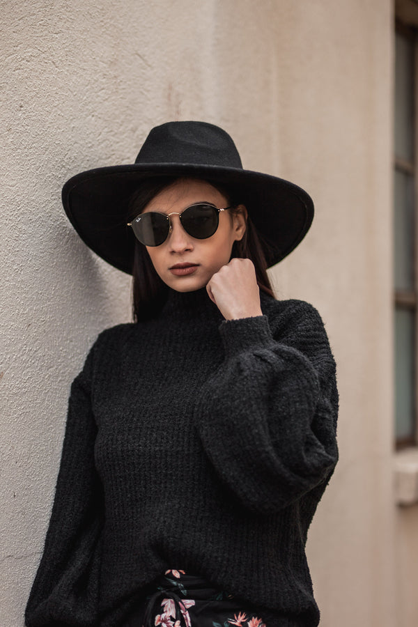 Black Puff Sleeve Sweater