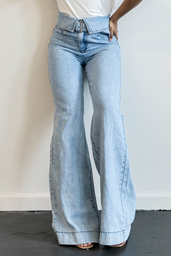Galen High Waisted Wide Leg Denim